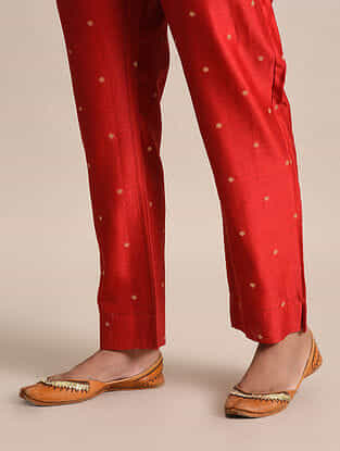 Red Tie-Up Chanderi Jacquard Pants