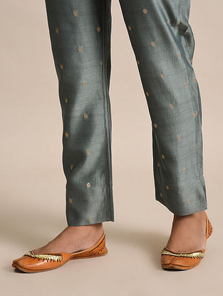 Grey Tie-Up Chanderi Jacquard Pants