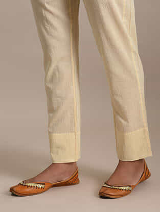 Beige Tie-Up Cotton Pants