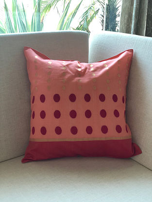 Pink Handwoven Chanderi Cushion Cover (16in x 16in)
