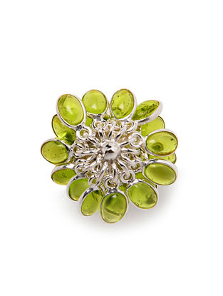 Green Silver Ring (US Size: 7.5)