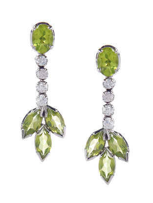 Green Silver Earrings