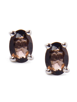 Smoky Brown Silver Earrings