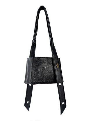 Black Genuine Leather Hand Bag cum Sling