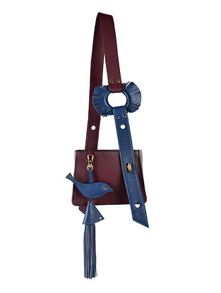 Burgundy Genuine Leather Hand Bag cum Sling with Charm