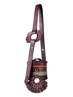 Burgundy Genuine Leather Sling Bag with Charm