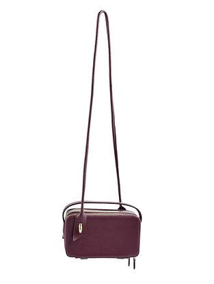 Burgundy Grey Genuine Leather Sling Bag