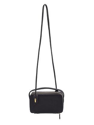 Black Grey Genuine Leather Sling Bag