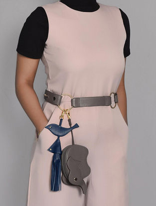 Grey Genuine Leather Belt Bag with Charm