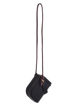 Black Genuine Leather Sling Bag with Charm