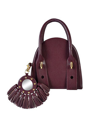 Burgundy Genuine Leather Hand Bag with Charm