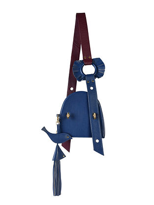 Blue Genuine Leather Sling Bag with Charm