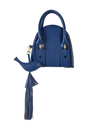 Blue Genuine Leather Hand Bag with Charm