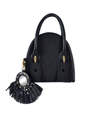 Black Genuine Leather Hand Bag with Charm