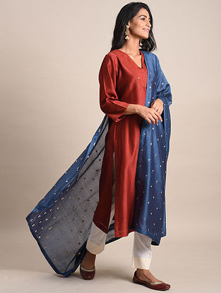 Navy Blue Chanderi Dupatta