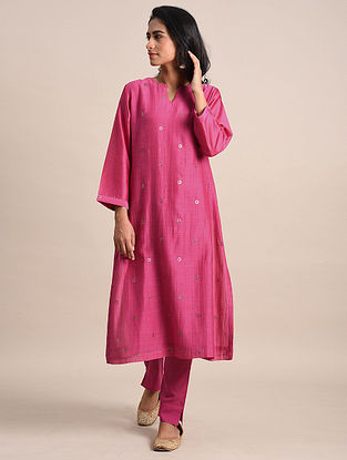 Fuschia Mukaish Chanderi Kurta with Cotton Lining