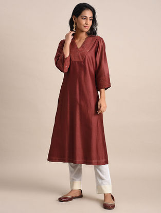 Maroon Mukaish Chanderi Kurta with Cotton Lining