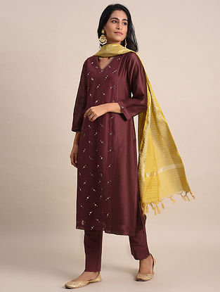 Majenta Mukaish Chanderi Kurta with Cotton Lining