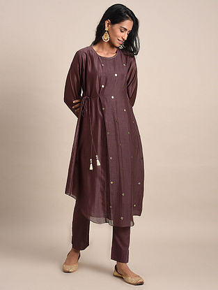 Purple Mukaish Chanderi Assymetrical Kurta with Cotton Lining