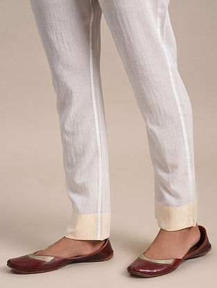 Cream Cotton Elasticated Pants