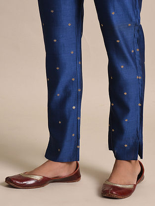Navy Blue Chanderi Jacquard Pants with Cotton Lining