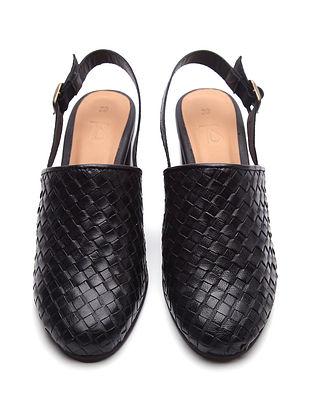 Black Handwoven Genuine Leather Block Heels