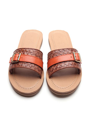 Brown Orange Handwoven Genuine Leather Flats
