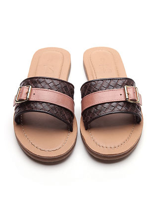 Brown Pink Handwoven Genuine Leather Flats