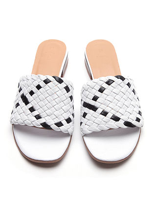 White Black Handwoven Genuine Leather Block Heels