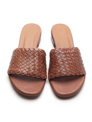 Brown Handwoven Genuine Leather Block Heels