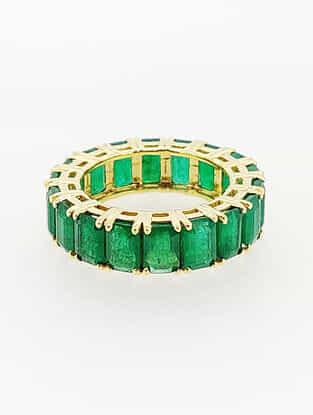Natural Zambian Emerald Gold Ring