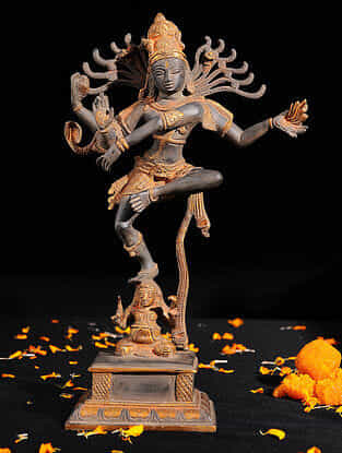 Dancing Shiva Brass Tabletop Accent (L -13.6, W -8.4in, H -13.6in)