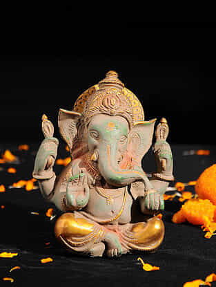 Ganesha with Long Ears Brass Tabletop Accent (L -5.3in, W -4.4in, H -5.3in)