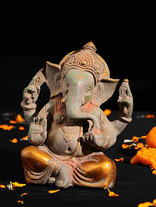 Ganesha with Long Ears Brass Tabletop Accent (L -6.3in, W -4in, H -6.3in)