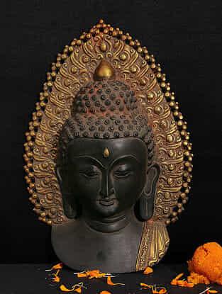 Buddha Brass Wall Accent (L - 13.5in, W -9.2in, H -13.5in)