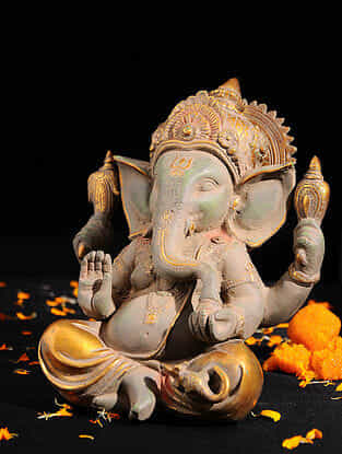 Ganesha with Long Ears Brass Tabletop Accent (L -9.2in, W -6.5in, H -9.2in)