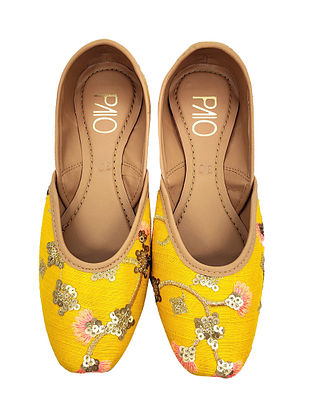 Yellow Hand Embroidered Vegan Leather Juttis