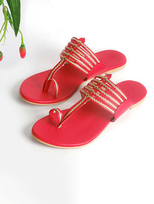 Red Handcrafted Faux Leather Kolhapuri Flats