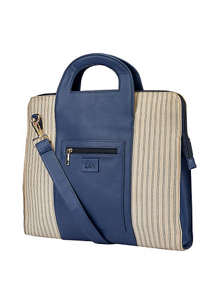 Blue Handcrafted Faux Leather Laptop Bag