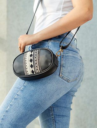 Black Handcrafted Faux Leather Sling Bag