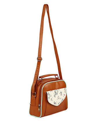Brown Handcrafted Faux Leather Sling Bag