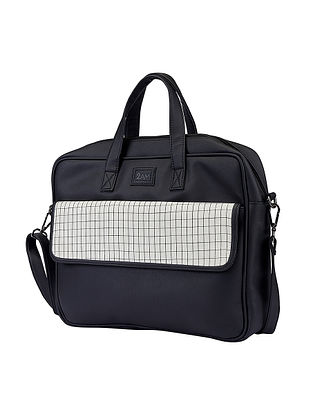 Black Handcrafted Faux Leather Laptop Bag