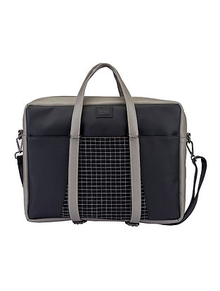 Grey Handcrafted Faux Leather Laptop Bag