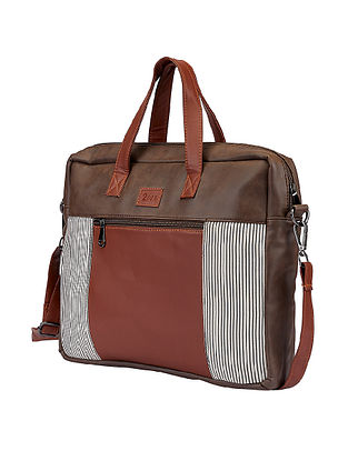 Brown Handcrafted Faux Leather Laptop Bag