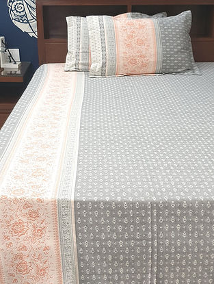 Floral Grey and Peach Cotton Jacquard King Bedsheet with Pillow Covers (Set of 3)