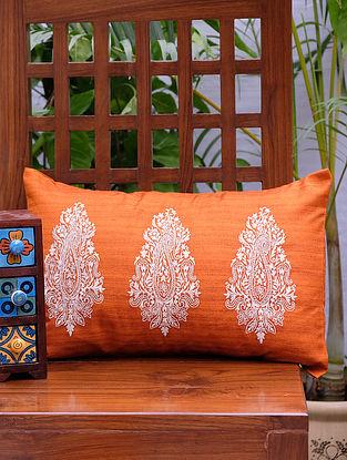 Paisley Orange Silk Cushion Cover (18in x 12in)