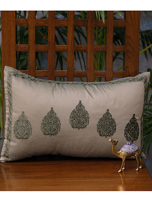 Betel Leaf Olive Green Viscose Cushion Cover (18in x 12in)