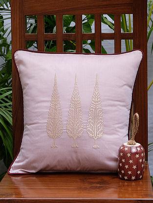 Ashok Tree Beige Viscose Cushion Cover (16in x 16in)