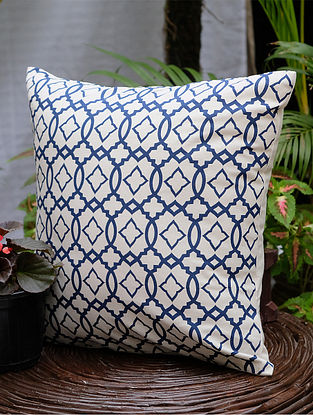 Moroccan Cream and Navy Cotton Cushion Cover (16in x 16in)