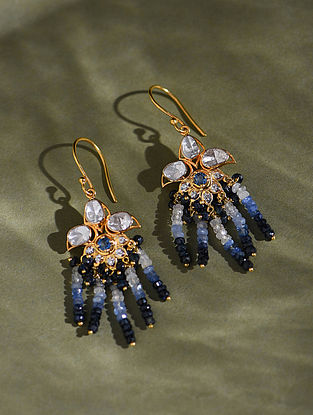 Gold And Diamond Polki Earrings With Sapphire